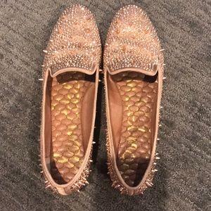 Rose Gold Studded Loafer Style Sam Edelman Flats